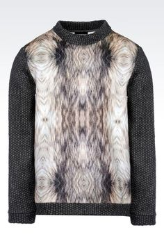Emporio Armani Men Crewneck Sweater - RUNWAY SWEATSHIRT IN PRINTED NEOPRENE Emporio Armani Official Online Store