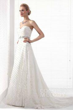Elegant+A-Line+Sweetheart+Court+Train+Lace+Wedding+Dress+Alb12299
