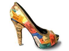 Carnival Ticket Gold Sequin Platform Peep toe Pumps #gold #heels www.loveitsomuch.com