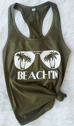 """FREE SHIPPING in the USA The most awesome pair of shades with palm tree's in the lenses and """"BEACH'IN"""" underneath, printed on your choice of a cozy cotton tee shirt (for men or women) or 60/40 cotton/poly lightweight racerback jersey tank top (for men or women)."""