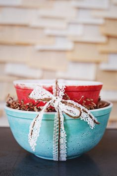 Pyrex Nesting Bowl Set Blue & Red by Tifanilyn on Etsy, $15.00