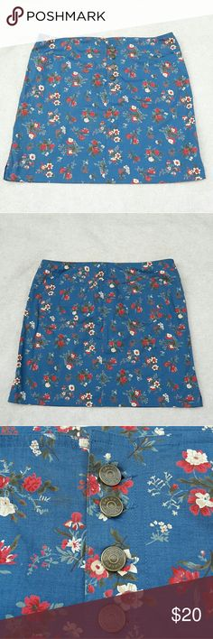 "Ralph Lauren Floral Skirt Ralph Lauren Womens Sz 8 Blue Floral Button Pencil Skirt  Length:17"" Waist:16""  Gently used with no flaws. Please see photos for exact details. Thank you for patronizing us. Ralph Lauren Skirts Midi"