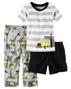 Baby Boy 3-Piece Cotton & Jersey PJs In coordinating prints, this 3-piece set includes a top, pants and shorts that can be mixed and matched for a variety of comfy bedtime options! Carter's cotton PJs are not flame resistant. But don't worry! They're designed with a snug and stretchy fit for safety and comfort. Carter's polyester is safe and flame resistant. But is it chemically treated? No way!