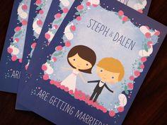 Aren't these wedding invites adorable? | www.frameandfollie.com | Custom design & illustration
