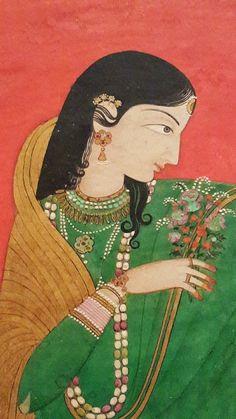 Collecting Indian ness niramish: Pahari beauty Painted by Nikka at Pichwai Paintings, Mughal Paintings, Indian Art Paintings, Ancient Indian Paintings, Ancient Indian Art, Abstract Paintings, Art And Illustration, Art Indien, Mughal Miniature Paintings