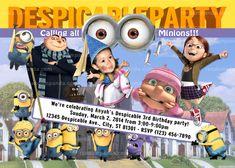 Personalize Despicable Me Party Invitation, Girls BE Agnes, Minions Birthday Invite
