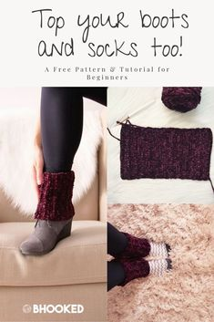 boot cuffs Make a pair of quick crochet boot toppers for yourself or as gifts! They work up super fast and are the perfect accent for your favorite pair of short boots Crochet Boot Cuff Pattern, Crochet Patterns, Crochet Ideas, Crochet Projects, Yarn Projects, Hat Patterns, Crochet Crafts, Crochet Boots, Crochet Slippers
