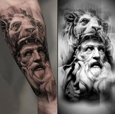 Paintings and tattoos Side by Side. Click the image, for more art by Glen Preece. Hercules Tattoo, Zeus Tattoo, Statue Tattoo, God Tattoos, Face Tattoos, Body Art Tattoos, Portrait Tattoos, Tattoo Ink, Arm Tattoo