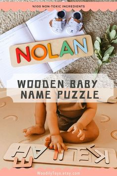 Baby Name Puzzle by WoodilyToys. Personalized name puzzle is the best wooden toy for a baby. Eco-friendly Montessori toys. Handcrafted in the USA. Engraved Baby Gift Boy's Name Puzzle Gift for Godchild New Baby Boy Baptism Gift New Born Montessori Puzzle Gift Godson Name Dedication. 1st Christmas gift, Baby Christmas gift, Personalized Christmas baby gift, Kids Christmas gift #namepuzzle #kidstoy Wooden Toys For Toddlers, Wooden Baby Toys, Toddler Toys, Kids Toys, Baby Boy Baptism Gifts, Baby Gifts, Christmas Gifts For Kids, Christmas Baby, Crochet Baby Toys