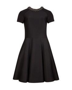 Embossed neoprene dress - Black | Dresses | Ted Baker ROW