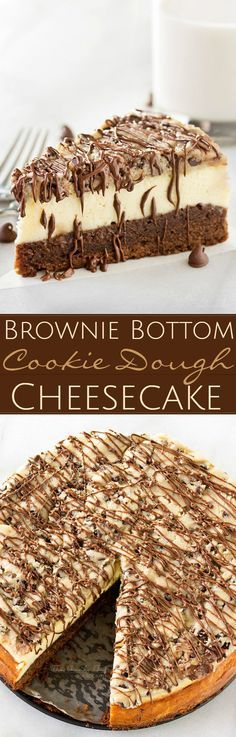 Brownie-Bottom-Cookie-Dough-Cheesecake | This impressive, yet super easy, brownie bottom cookie dough cheesecake looks as fancy as any dessert you've had from a restaurant! The ULTIMATE cheesecake for the ULTIMATE dessert lover! | thechunkychef.com