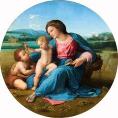 """Raffaello Sanzio, """"Madonna d'Alba"""", 1510 circa - Olio su pannello montato su tela, 94 cm di diametro, National Gallery of Art, Washington -"""