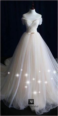 NEW! Alluring Tulle Off-the-shoulder Neckline A-line Wedding Dress With Belt