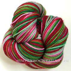 Poste Yarn, Striping Sock: Jollyville, TX This hand dyed, self striping yarn is dyed in small batches exclusively for Simply Socks Yarn Company. The name pays homage to our restored 1940's post office store and dye studio and we hope to bring a bit of that era to you with each skein- when each card or piece of mail held promise and carried importance often looked over in a digital age. This color stripes as follows: 3-4 rows each bright red, grass green, bubblegum pink, mint, scarlet…