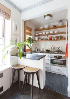 Cosy Kitchen, Studio Kitchen, Home Decor Kitchen, Interior Design Kitchen, Modern Small Kitchen Design, Open Kitchen, Kitchen Designs, Modern Design, Small Kitchen Tables