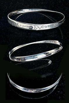 Sterling Silver Bracelets - 1 Corinthians 13:4 Mobius Strip Bangle