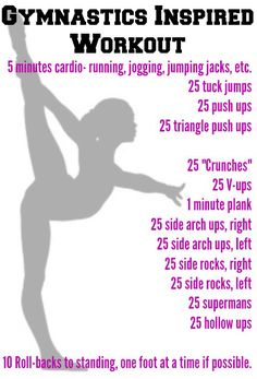 Gymnastics Inspired Workout - This is one of my favorite workouts! I do two reps of it with a 5-10 minute break in between. Good luck!