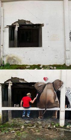 50 grafitis increíbles con ilusiones 3D por Scaf - Marcianos 3d Street Art, Urban Street Art, Street Graffiti, Street Artists, Graffiti Art, Wall Street, Art Français, 3d Art, 3d Wall Art