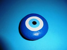 Painted Stone  Blue EYE Painted with acrylic by Lefteris Kanetis