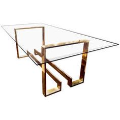 Metal and Glass Dining Table Simple Dining Table, Glass Dining Room Table, Dining Table Design, Classy Living Room, Steel Table, Metal Furniture, Dinner Table, Console, Decoration