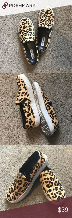 STEVE MADDEN leopard slip ons Bought these here on Poshmark and never wore them - not quite my style. Leopard print has a cool texture to them as shown in pics Steve Madden Shoes Flats & Loafers