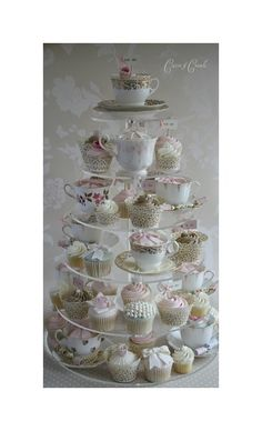 If you must have cupcakes- let us display them with antique tea cups. This is amazing and Monterre Vineyards can do it!