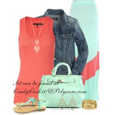 A fashion look from May 2013 featuring fitted tank tops, blue jean jacket and green shoes. Browse and shop related looks.