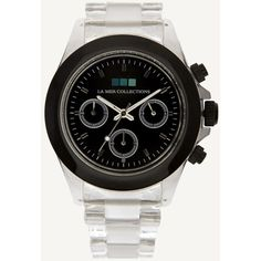 Black Bezel / Black Dial Carpe Diem Watch ($62) ❤ liked on Polyvore featuring jewelry, watches, black, water resistant watches, la mer jewelry, waterproof watches, dial watches and clear watches