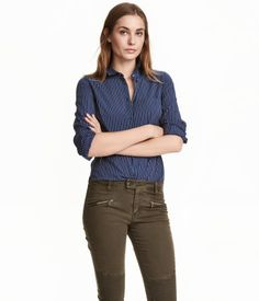 Dark blue& Long-sleeved, straight-cut shirt in woven cotton fabric. Narrow turn-down collar, one chest pocket, and rounded hem. Longer at back. Business Dresses, H&m Online, Cut Shirts, New Wardrobe, Her Style, Blue Stripes, Cotton Fabric, Woven Cotton, Fashion Online