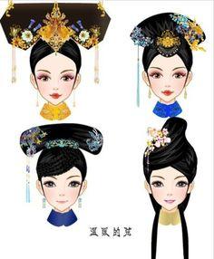 中国风-古代发型 Chinese Style, Traditional Chinese, Chinese Art, Traditional Outfits, Chinese Fashion, Cartoon Hair, Chinese Dolls, Chinese Drawings, Chinese Cartoon