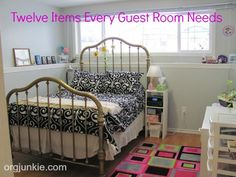Twelve Items Every Guest Room Needs:  1.  Flat Cleared Surfaces, 2.  Tissues, 3.  Garbage Can, 4.  Extra Blanket, 5.  Basket of Toiletries, 6.  Basket of Snacks, 7.  Extra Hangers, 8.  Towels, 9.  Reading Lamps, 10.  Air Freshener, 11.  Mirror,12. Extra Outlets
