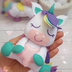 No photo description available. Felt Animal Patterns, Stuffed Animal Patterns, Pdf Patterns, Felt Gifts, Bff Gifts, Unicorn Crafts, Doll Maker, Sewing Toys, Felt Toys