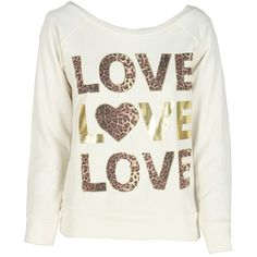 Cream Animal Print Love Sweatshirt ($18) ❤ liked on Polyvore featuring tops, hoodies, sweatshirts, shirts, sweaters, blusas, cream shirt, white sweatshirt, cream sweatshirt and animal print sweatshirt