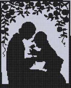 Монохромная вышивка.Mother and Son Cross Stitch Pattern pattern on Craftsy.com
