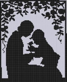 Монохромная вышивка.Mother and Son Cross Stitch Pattern pattern on Craftsy.com