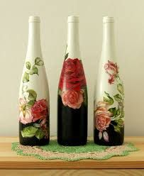 Decoupage Metal Tin Cans Craft Videos projects Tutorial Wine Bottle Art, Painted Wine Bottles, Diy Bottle, Wine Bottle Crafts, Bottles And Jars, Glass Jars, Decorated Bottles, Empty Bottles, Tin Can Crafts