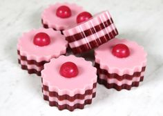 Learn to make adorable melt & pour soaps that look like little tarts. They are scented with Red Berry Rhubarb Fragrance oil, which smells fruity and sweet.