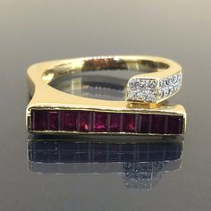 18k Yellow gold Natural Dark Ruby & VS Diamond Modern Fancy cluster ring 1.35ctw by crystalanchor on Etsy