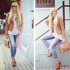 Look, summer casual- like the simplicity of jeans and a stripy top