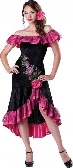 5957db3bbd89 La Señorita Spanish Flamenco skirt Children black pink 2 Volants Sports &  Outdoors