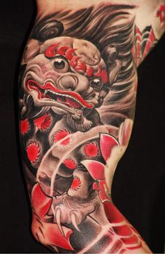 What does fu dog tattoo mean? We have fu dog tattoo ideas, designs, symbolism and we explain the meaning behind the tattoo. Red Tattoos, Asian Tattoos, Badass Tattoos, Cool Tattoos, Japanese Tattoos, Dragon Tattoos, Awesome Tattoos, Unique Tattoos, Tatto Ink