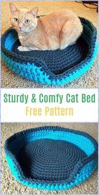 Crochet Sturdy & Comfy Cat Bed Free Pattern - Crochet Cat House Patterns #CatHouse Gato Crochet, Beau Crochet, Crochet Cat Toys, Crochet Cat Pattern, Crochet Animals, Crochet Crafts, Crochet Baby, Crochet Projects, Free Crochet