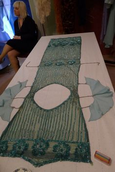 Phryne's Mint Tabard Dress - 1920's green silk net with luminescent sequins and bugle beads