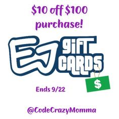 Save big on discounted gift cards! ‪$10.00 off your order on orders $100.00 or more @ EJ Gift Cards #PromoCode E1QI5KCZK9 Expires 9/22 ‬#Ad #save #sale #deal #discount #coupon #sahm Discount Gift Cards, Home Decor Furniture, The 100, Coupon, Big, Gifts, Fashion, Moda, Favors