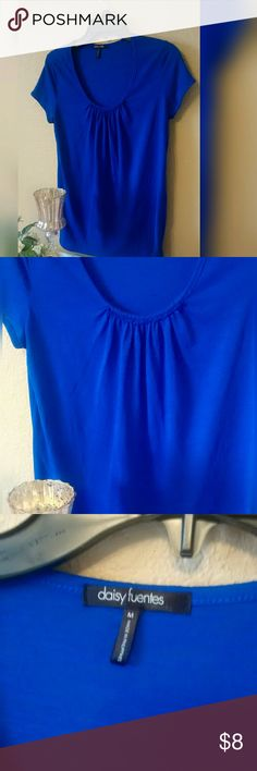Daisy Fuentes Blouse Beautiful blue simple blue blouse. Soft gathering at the neckline. In excellent like new condition. Size MEDIUM.  * Accepting most offers * Bundle and save! * Fast next day shipping!! Daisy Fuentes Tops Tees - Short Sleeve