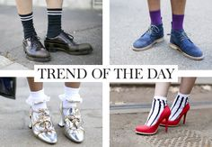 This summer you will see this trend everywhere. Socks are allowed and even a must if they have a cute print. Wear them in heels, sneakers and sandals to give… 2015 Trends, Socks, Shoe, Sandals, Day, Heels, Sneakers, Summer, How To Wear