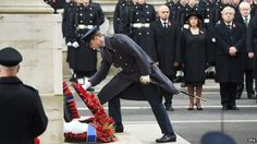 Prince William lays a wreath at the Cenotaph