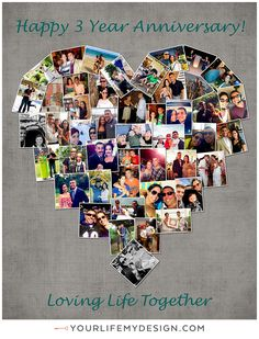 8x10 with 46 photos ❤ CollageDesign by http://yourlifemydesign.com/ #yourlifemydesign #photocollage #heartcollage #anniversary