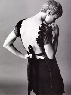 mia farrow WEARING AN INTERESTING DRESS WITH PINAFORE BACK...