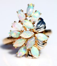 Vintage 14k Gold Australian Opal Cluster Cocktail Ring